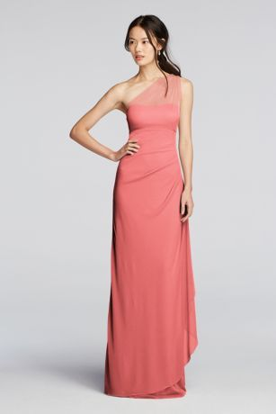 A classic design to fit everyone's sense of style! Long mesh dress features an illusion one shoulder strap. Soft side cascade gives this dress just a hint of movement. Fully lined. Back zipper. Imported. Dry clean only. Also available in Extra Length sizes as Style 4XLF19074. To protect your dress, try our Non Woven Garment Bag.