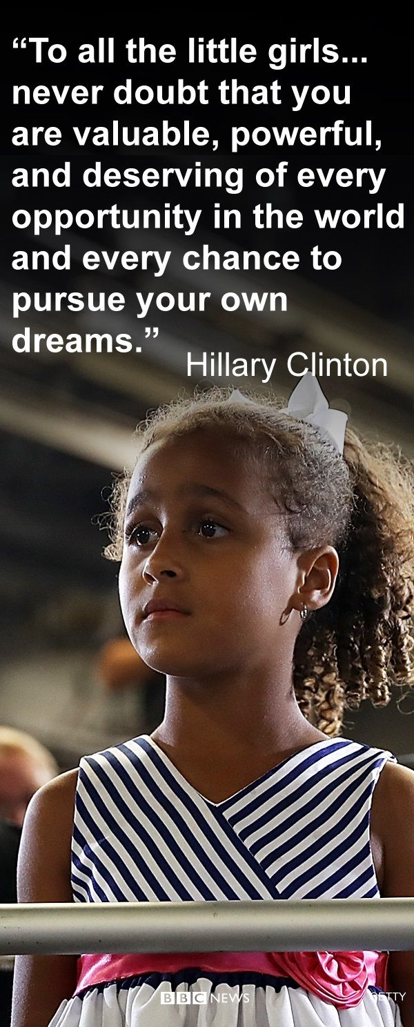 Hillary Clinton didn't manage to become the first female president of the US but she had this message to young girls. She said she hoped that a woman would lead the United States sooner, rather than later.