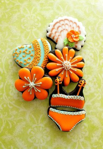 Summer Cookies by Mint Lemonade Repinned By:#TheCookieCutterCompany www.cookiecuttercompany.com #summer #cookies #design