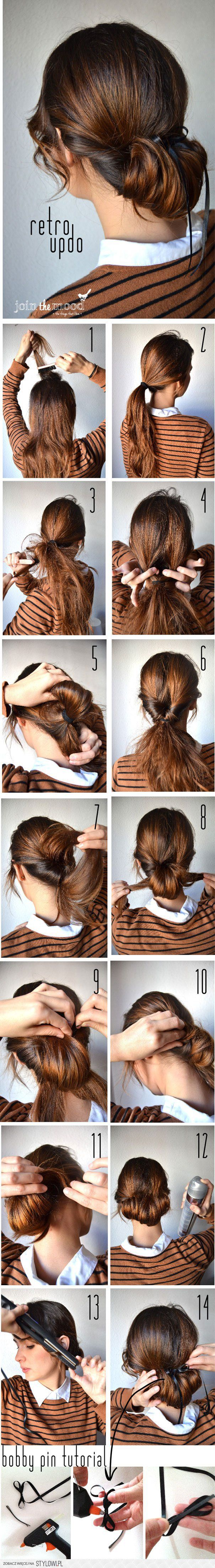 "Low pony; topsy-tail and pull through; topsy-tail again to create ""roll""; wrap ends under and secure; add decorative bow. Pretty!"