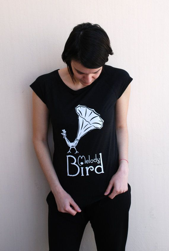 Melody Bird on Black color - Women's Bamboo Viscose Raglan t-shirt, Organic Cotton - Available in S, M - Bad Ink Special gift for her