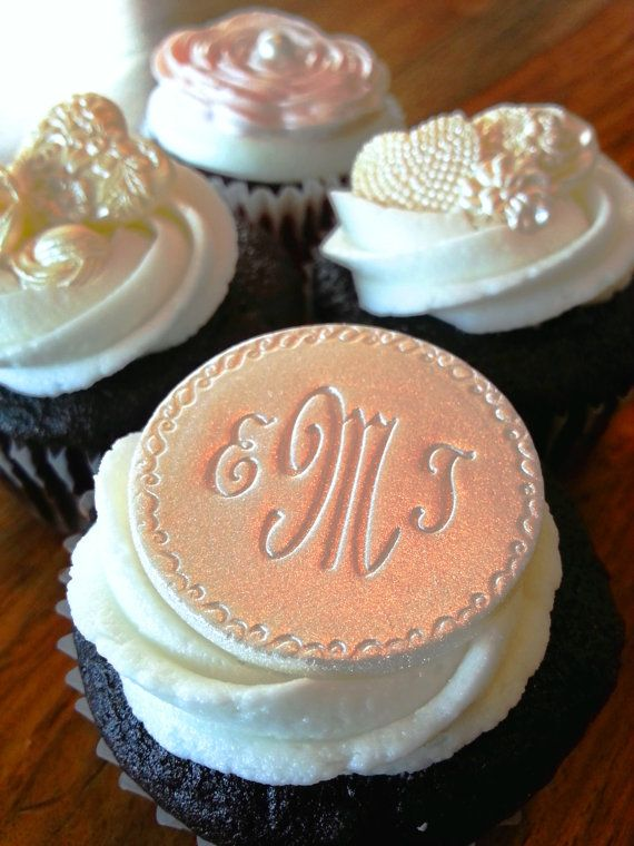 Monogrammed Cupcake Toppers - Edible Cupcake Decoration, Small Wedding Cake Plaque or Brooch on Etsy, $16.00