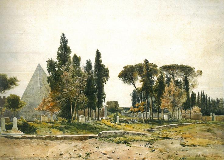 Ettore Roesler Franz - L'Antico Cemeterio Protestante, 1887
