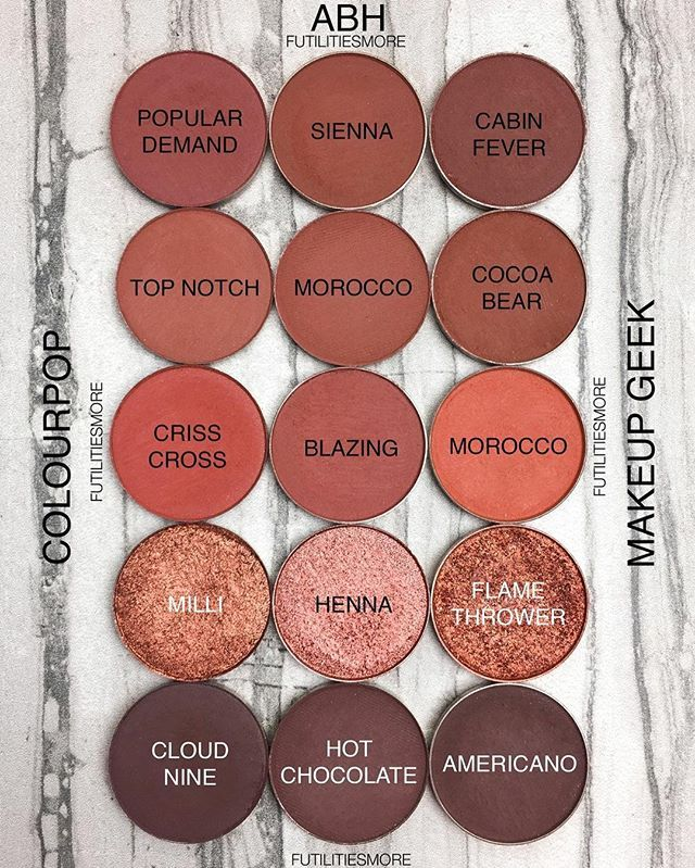 WARM BROWNS AND COPPER SINGLE SHADOWS! Colour Pop cosmetics VS Anastasia Beverly Hills VS Makeup Geek Cosmetics