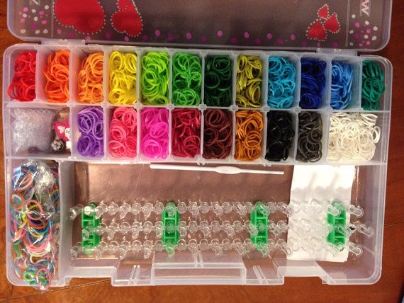 Hand Painted Rainbow Loom Organizer, Brand New DIY Loom kit, and 3100 plus bands on Etsy, $50.00