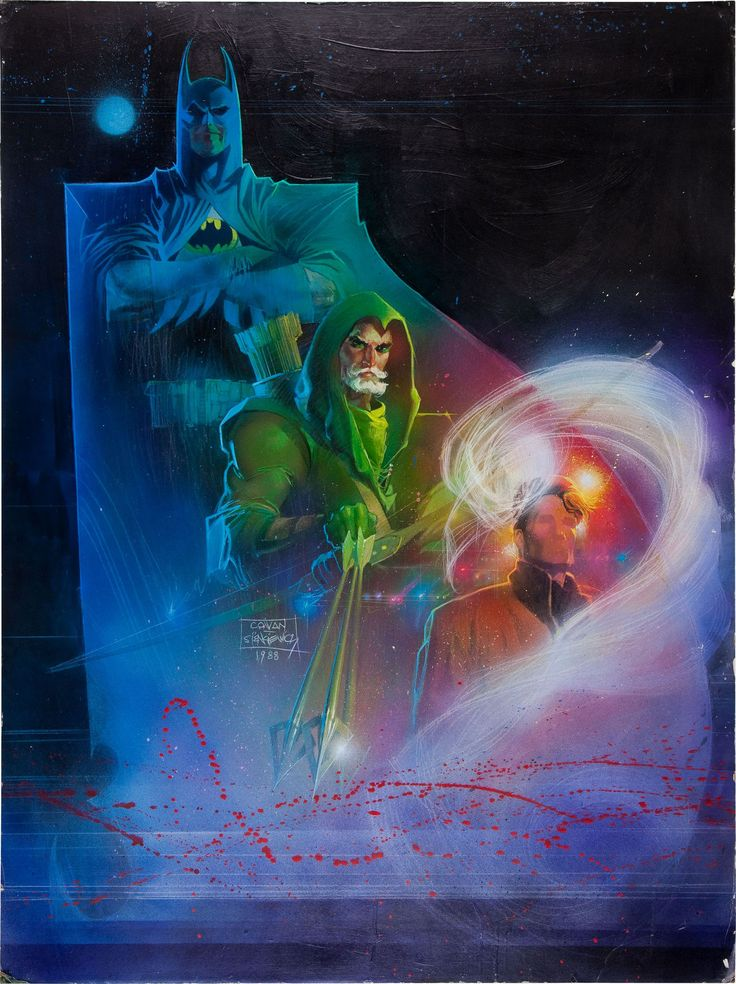 "Batman, Green Arrow, and the Question poster by Denys Cowan & Bill Sienkiewicz.This piece was created for a retail poster to promote the 1988 three-part ""Fables"" story arc that ran through Detective Annual #1, Green Arrow Annual #1, and Question Annual #1."