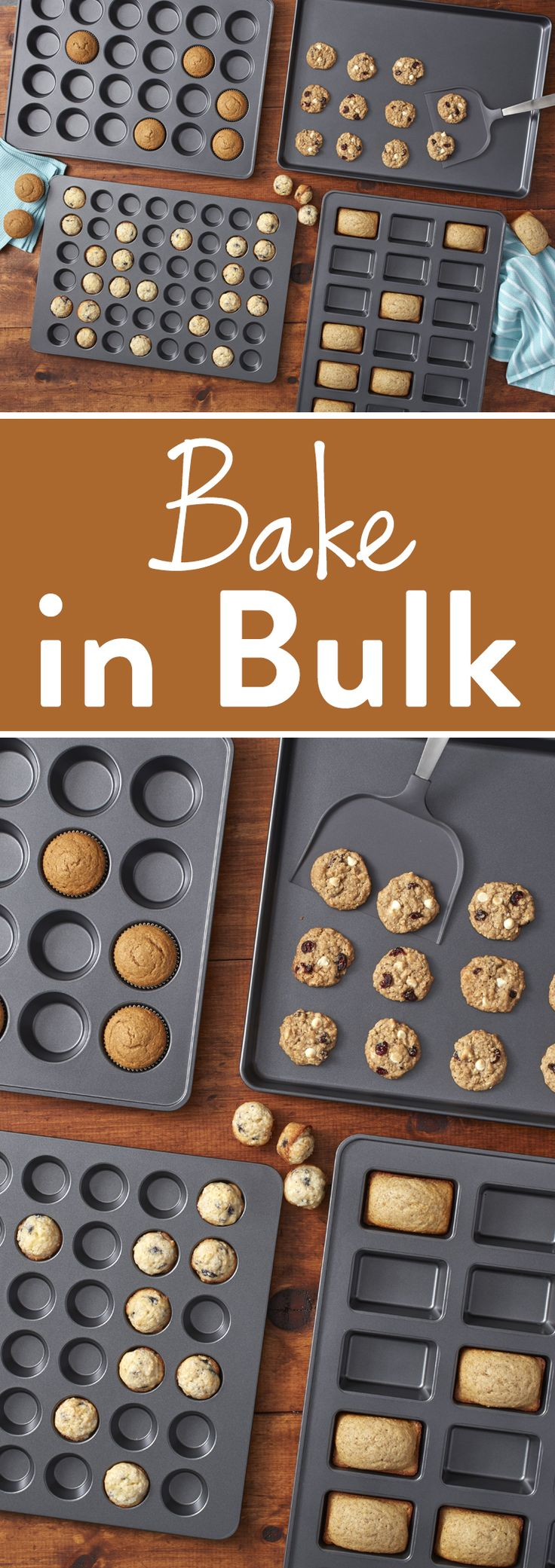 How to Bake in Bulk - Big baking jobs such as parties, bake sales, work luncheons and holidays call for super-sized baking pans! Wilton's mega bakeware oversized pans make efficient use of your time in the kitchen – no more waiting for two rounds of baking! The pans are roughly as wide and deep as most ovens, so they'll maximize your oven space. Plus, the non-stick coating on these pans makes cleaning up a breeze.