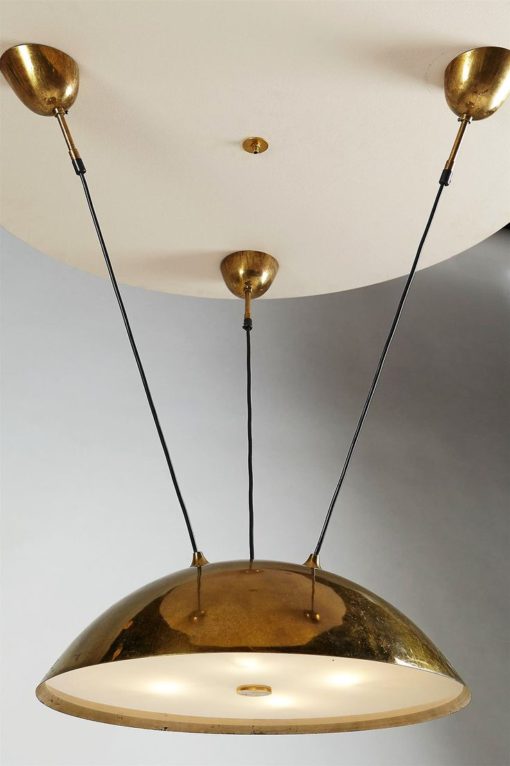 Ceiling light, by Paavo Tynell, Finland. 1950's. Polished brass and frosted glass./ Modernity