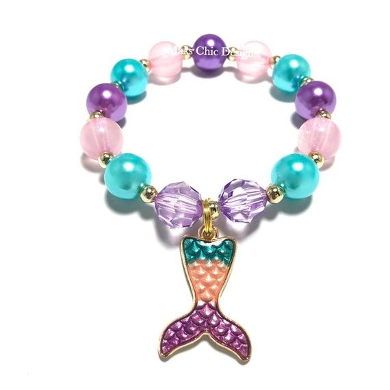 Green and Teal Bracelet Plum Plum and Teal Chunky bracelet Silver Mermaid Bracelet Under the Sea Bracelet Colorful Bracelet