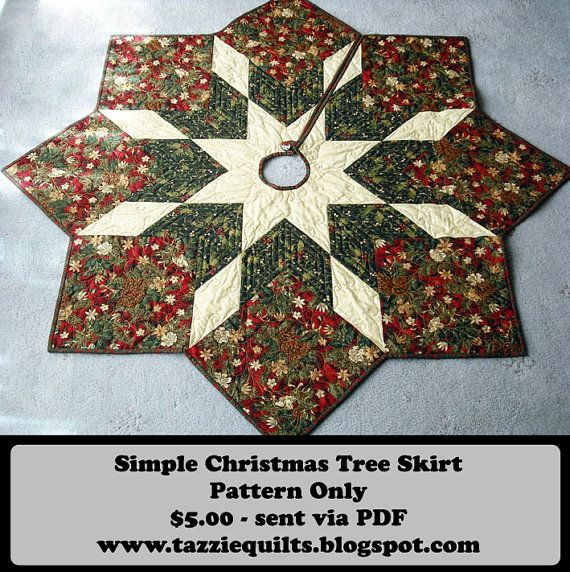 """Quilted Christmas Tree Skirt Pattern at 46"""" across, This inexpensive patterns will be easy to make. Easy instructions and instant pdf download."""