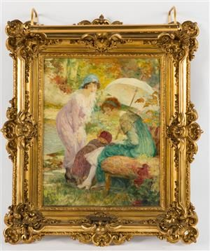 Lauritz.com - Ældre billedkunst - Edouard François Zier, havescene med to kvinder og et barn - DE, Köln, Kunst- und Auktionshaus Herr