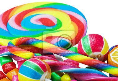 Fotobehang Grote verscheidenheid aan kleurrijke snoep