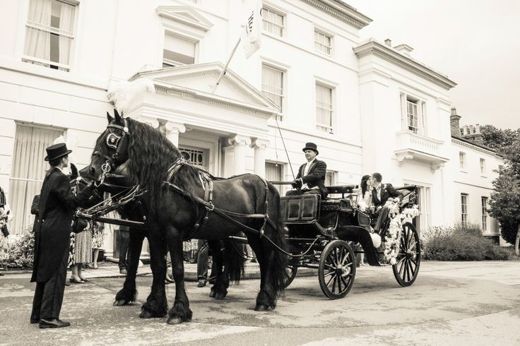 Horse and Carriage wedding photos Puckrup Hall
