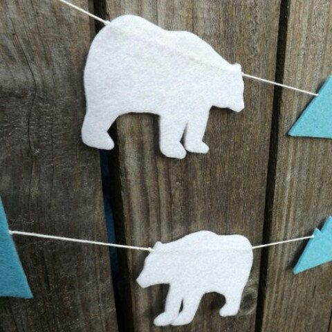 Now listed in my shop...polar bear garland                                                                                                                                                                                 More