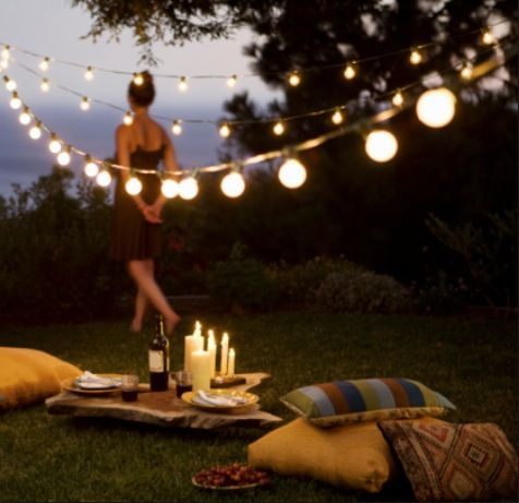 Woman standing behind picnic with candles romantic Best candles for romantic night