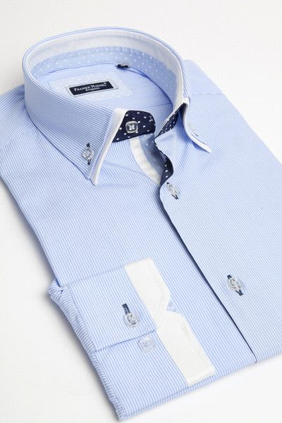 Blue double collar shirt by Franck Michel