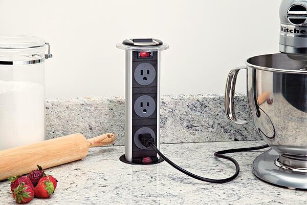 Hidden pop-up outlet just when you need it. #kitchen #storage #organize