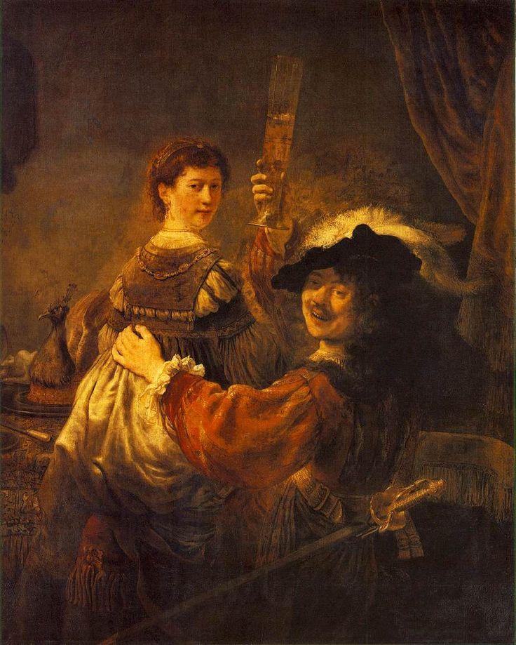 la migliore opera di Rembrandt, secondo John Ruskin, era il suo autoritratto come Figliol prodigo nella taverna, in cui è vestito da cavaliere, con sua moglie, Saskia, seduta sulle sue ginocchia. Rembrandt ci guarda attraverso lo specchio, mettendo in mostra in maniera irriverente la sua intimità, e alza un bicchiere di vino, brindando alla felicità domestica.