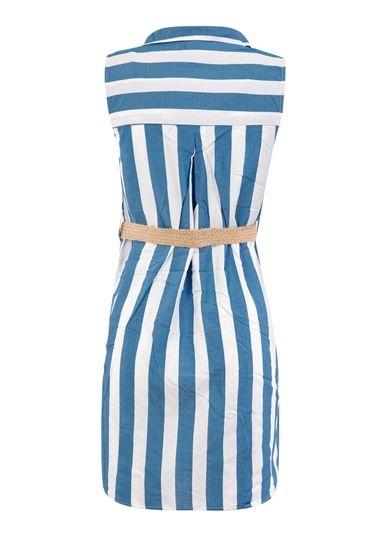 Mavi Çizgili Elbise 172-4957 | ONDO
