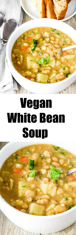 Vegan White Bean Soup Easy to prepare and flavorful #vegan #glutenfree #beanrecipes