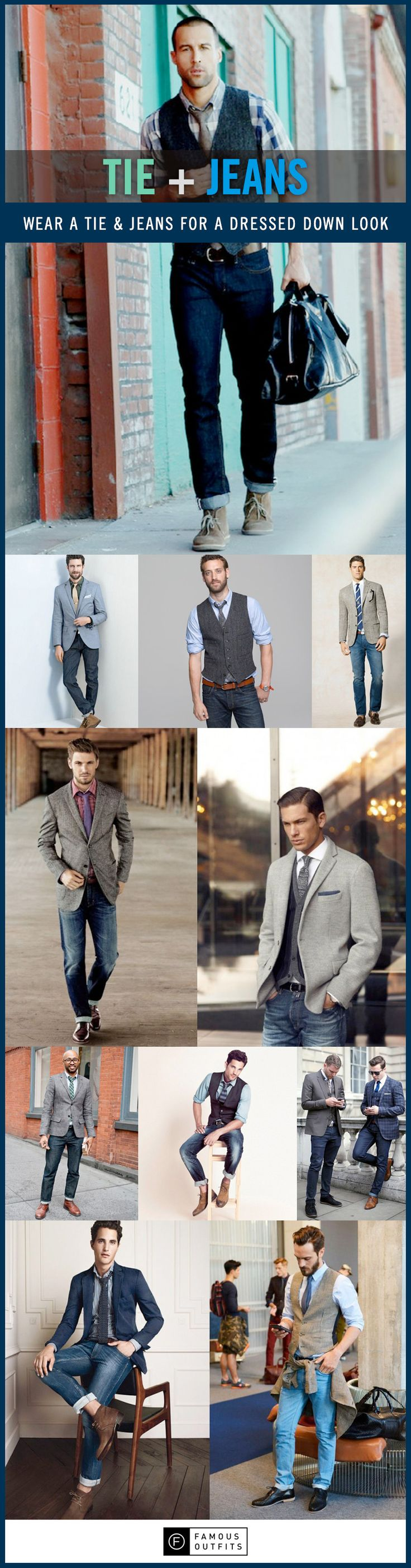 Tie + jeans = winning combination! Break the old rules of fashion.