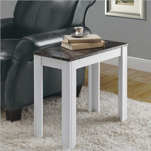 Monarch Specialties Rectangular Accent Side Table   White/Gray I 3113