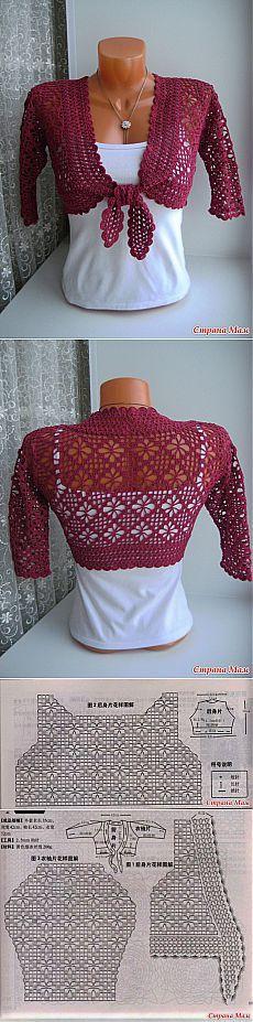 Crochet bolero pattern                                                                                                                                                      Más
