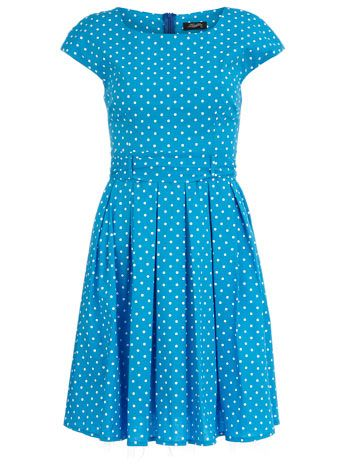 Aqua dress with white polka dots