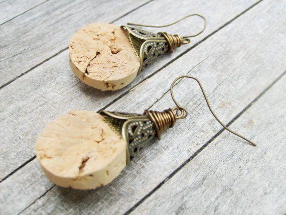 Cork brass earring - Jewelry - earring - dangle - hippie chic - boho jewelry - wirewrap - lightweight earring