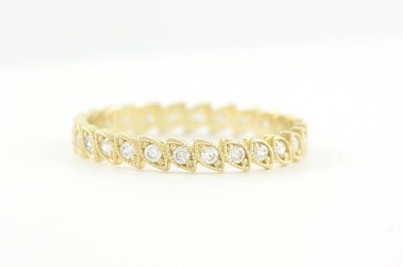 Diamond Wedding Band Leaf Eternity Ring Gold Leaf Ring Full