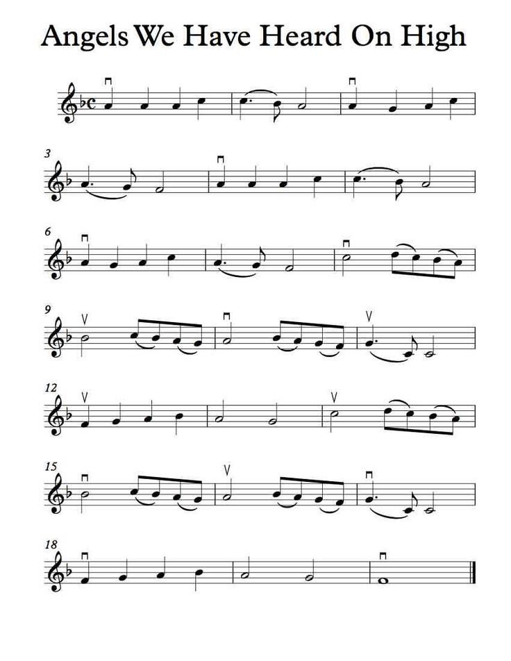 Free Violin Sheet Music - Angels We Have Heard On High - In F and G Major