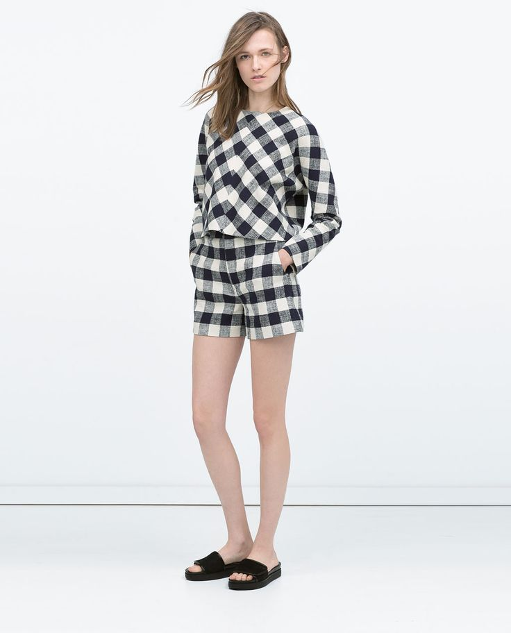 check japanese sleeve top + high waisted check shorts.