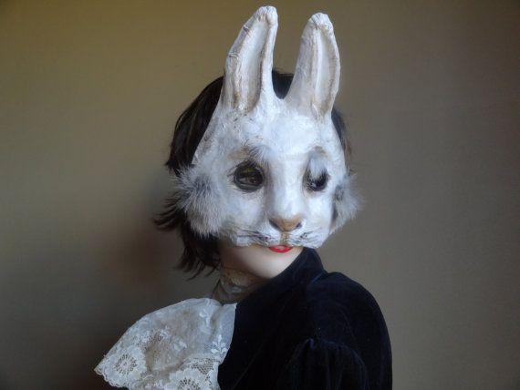 Rabbit mask bunny mask paper mache animal mask by MiesmesaBerni