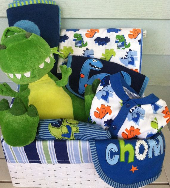 Dinosaur Baby Gift Basket.  Baby shower gift for the new baby boy