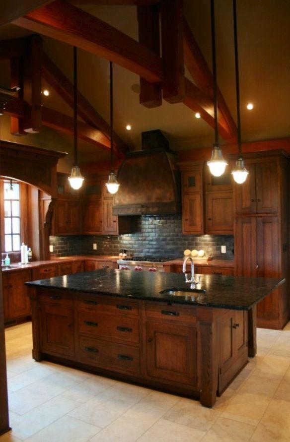 Black Granite Countertop with Cherry Wood Cabinets ... on Maple Kitchen Cabinets With Black Granite Countertops  id=93781