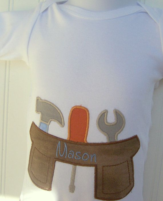 Personalized Baby Boy Onesie (tm), bodysuit  or  T shirt Tool Belt, Tools, Construction, Father's day. $18.00, via Etsy.