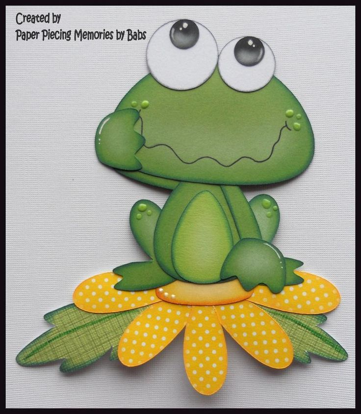 Frog on Flower Premade Paper Piecing Die Cut for Scrapbook Page byBabs created by Paper Piecing Memories by Babs