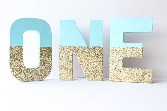 Hey, I found this really awesome Etsy listing at https://www.etsy.com/uk/listing/228952062/1-gold-and-blue-glitter-letters-one-1st
