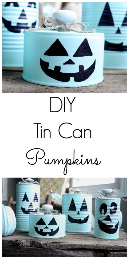 Fun and Super Easy DIY Tin Can Pumpkins! These are so dang cute, and most items you will already have on hand! Very budget friendly fall or Halloween decor!