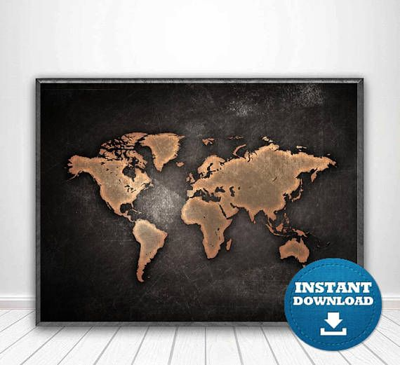 25 best digital world maps images on pinterest world map print world map poster black and white map black gumiabroncs Images
