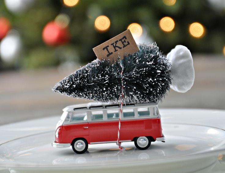 Bottle brush tree place holder!  Love the van!