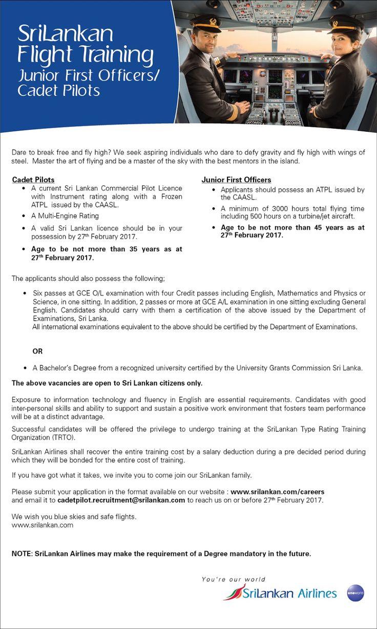 Sri Lankan Government Job Vacancies at Srilankan Airlines for Cadet Pilot, Junior First Officer