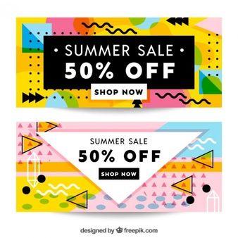 Banner für den Sommerschlussverkauf, memphis Stil