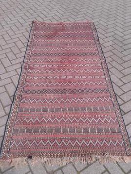 Kelim handgeweven kleed geometrisch antiek vloerkleed tapijt