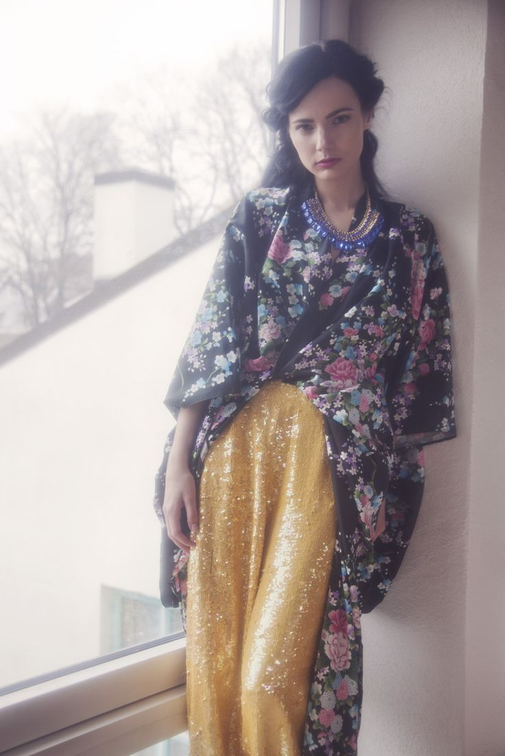 Evig Vintage Lookbook SS13 Exotic Infatuation. 80`s floral kimono jacket and heavy yellow sequin trousers..