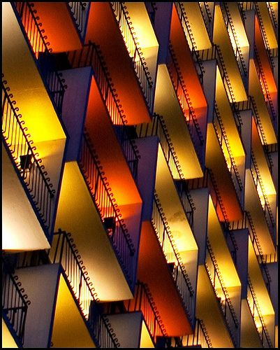 got ya, not a quilt-colorfully lit balconies of a hotel