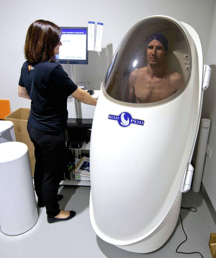 Tim Heming in GSK's body composition pod