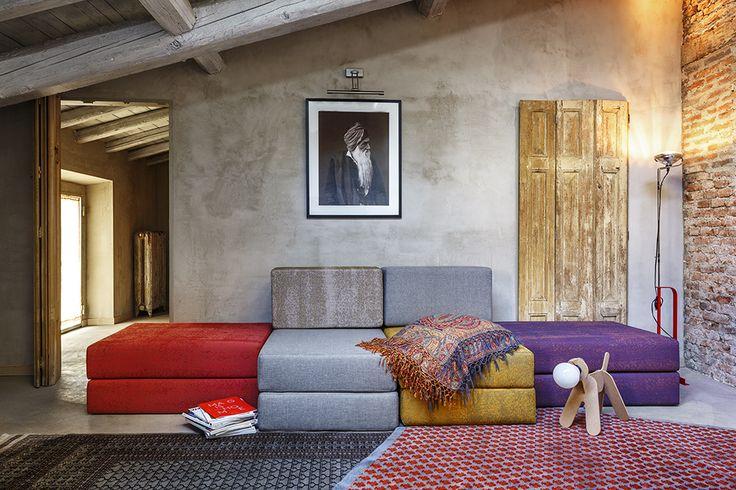 Divano modulare Rodolfo di Davide Negri trasformabile in letto