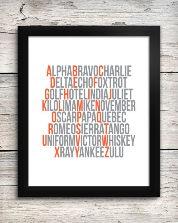 Aviation Alphabet Print  Pilot's Phonetic by AddisonAndLake, $20.00