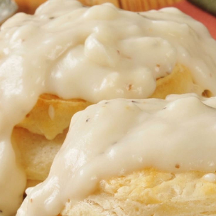 This biscuits and milk gravy recipe is good old time cooking with flavors like Grandmother would make.. Biscuits And Milk Gravy  Recipe from Grandmothers Kitchen.